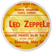 Led Zeppelin Ticket Round Beach Towel by David Lee Thompson