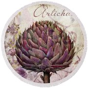 Legumes Francais Artichoke Round Beach Towel by Mindy Sommers