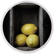 Lemons Still Life Round Beach Towel by Edward Fielding