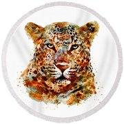 Leopard Head Watercolor Round Beach Towel by Marian Voicu