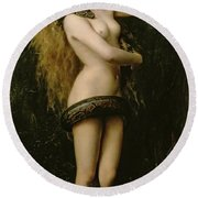 Lilith Round Beach Towel by John Collier