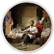 Lincoln Writing The Emancipation Proclamation Round Beach Towel by War Is Hell Store