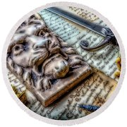 Lion And Dagger Round Beach Towel by Garry Gay