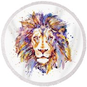 Lion Head Round Beach Towel by Marian Voicu