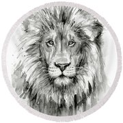 Lion Watercolor  Round Beach Towel by Olga Shvartsur