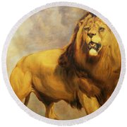 Lion  Round Beach Towel by William Huggins