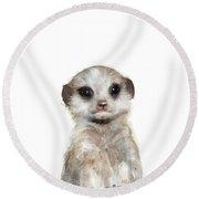 Little Meerkat Round Beach Towel by Amy Hamilton