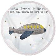 Little Plane Round Beach Towel by Samuel Whitton