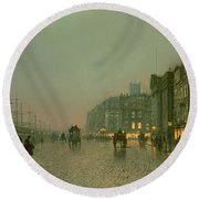Liverpool Docks From Wapping Round Beach Towel by John Atkinson Grimshaw