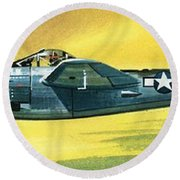 Lockheed P-38j Lightning Round Beach Towel by Wilf Hardy