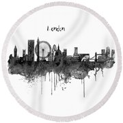 London Black And White Skyline Watercolor Round Beach Towel by Marian Voicu