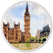 London Calling Round Beach Towel by Marian Voicu