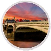London Sunset Round Beach Towel by Adrian Evans