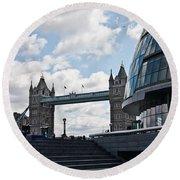 London Tower Bridge Round Beach Towel by Dawn OConnor