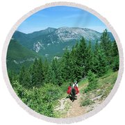Lone Llama Packer In Gorgeous Mountain Wilderness Round Beach Towel by Jerry Voss