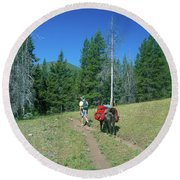 Lone Llama Packer In The Beautiful Bob Marshall Wilderness Round Beach Towel by Jerry Voss