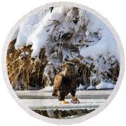 Lookout Above Round Beach Towel by Mike Dawson