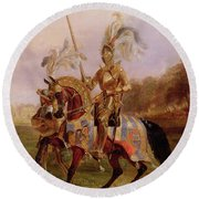 Lord Of The Tournament Round Beach Towel by Edward Henry Corbould