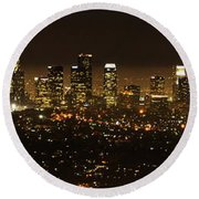 Los Angeles At Night Panorama 2 Round Beach Towel by Bob Christopher