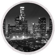 Los Angeles At Night Panorama 3 Round Beach Towel by Bob Christopher