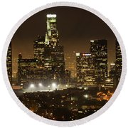 Los Angeles At Night Panorama 4 Round Beach Towel by Bob Christopher