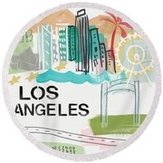 Los Angeles Cityscape- Art By Linda Woods Round Beach Towel by Linda Woods