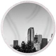 Los Angeles Skyline - B And W Round Beach Towel by Gene Parks