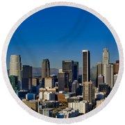 Los Angeles Skyline Round Beach Towel by Chris Brannen