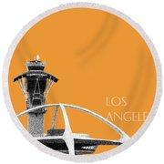 Los Angeles Skyline Lax Spider - Orange Round Beach Towel by DB Artist