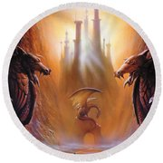 Lost Valley Round Beach Towel by The Dragon Chronicles - Garry Wa