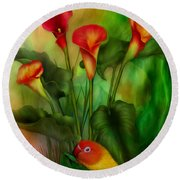 Love Among The Lilies  Round Beach Towel by Carol Cavalaris