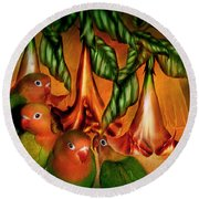 Love Among The Trumpets Round Beach Towel by Carol Cavalaris