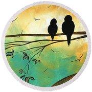 Love Birds By Madart Round Beach Towel by Megan Duncanson