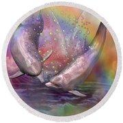 Love Bubbles Round Beach Towel by Carol Cavalaris
