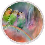 Love On A Rainbow Round Beach Towel by Carol Cavalaris