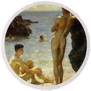 Lovers Of The Sun Round Beach Towel by Henry Scott Tuke
