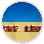 Lucky Lager Round Beach Towel by Todd Klassy