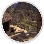 Round Beach Towel featuring the photograph Machu Picchu by Travel Pics