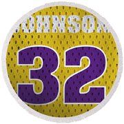 Magic Johnson Los Angeles Lakers Number 32 Retro Vintage Jersey Closeup Graphic Design Round Beach Towel by Design Turnpike