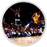 Magic Johnson No Look Pass 7a Round Beach Towel by Brian Reaves
