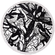 Magpies Round Beach Towel by Nat Morley