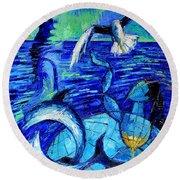 Majestic Bleu Round Beach Towel by Mona Edulesco
