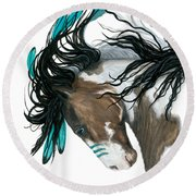 Majestic Turquoise Horse Round Beach Towel by AmyLyn Bihrle