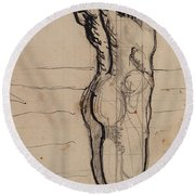 Male Act   Study For The Truth Round Beach Towel by Ferdninand Hodler
