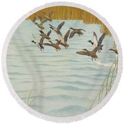 Mallards In Autumn Round Beach Towel by Newell Convers Wyeth