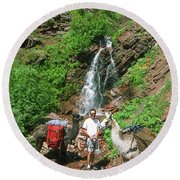 Man Posing With Two Llamas Mountain Waterfall Round Beach Towel by Jerry Voss