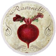 Mangia Radish Round Beach Towel by Mindy Sommers
