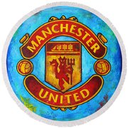 Manchester United Vintage Round Beach Towel by Dan Haraga