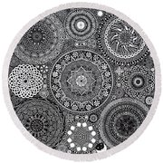 Mandala Bouquet Round Beach Towel by Matthew Ridgway