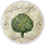 Mangia Artichoke Round Beach Towel by Mindy Sommers